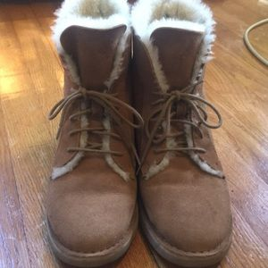 Chestnut colored Ugg laced boots